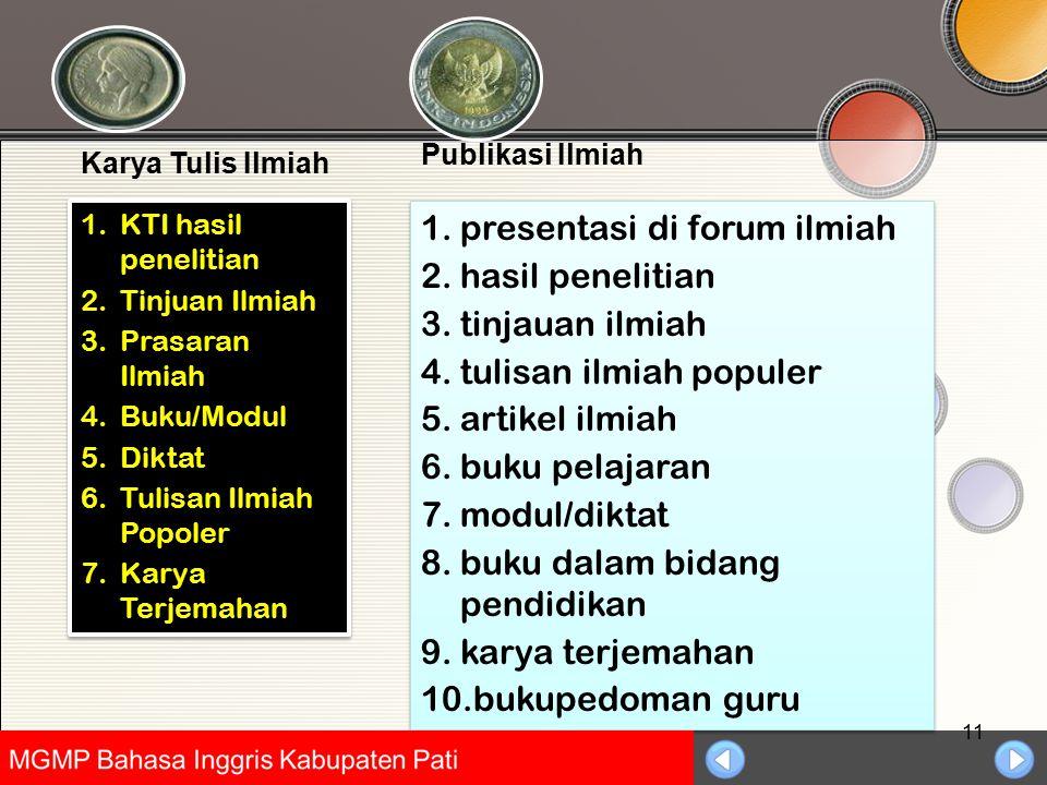 Universitas Negeri Jakarta 11 1.KTI hasil penelitian 2.Tinjuan Ilmiah 3.Prasaran Ilmiah 4.Buku/Modul 5.Diktat 6.Tulisan Ilmiah Popoler 7.Karya Terjema