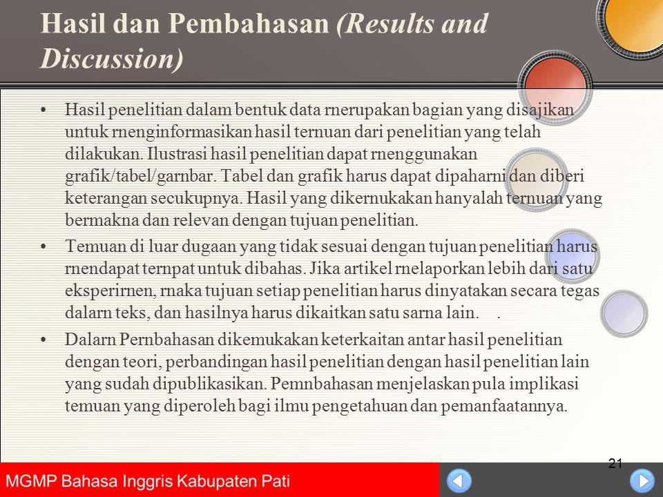 Universitas Negeri Jakarta Hasil dan Pembahasan (Results and Discussion) Hasil penelitian dalam bentuk data rnerupakan bagian yang disajikan untuk rne
