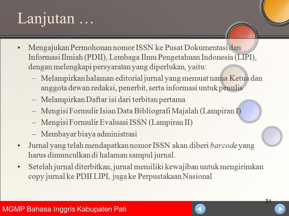 Universitas Negeri Jakarta Lanjutan … Mengajukan Permohonan nomor ISSN ke Pusat Dokumentasi dan Informasi Ilmiah (PDII), Lembaga Ilmu Pengetahuan Indo