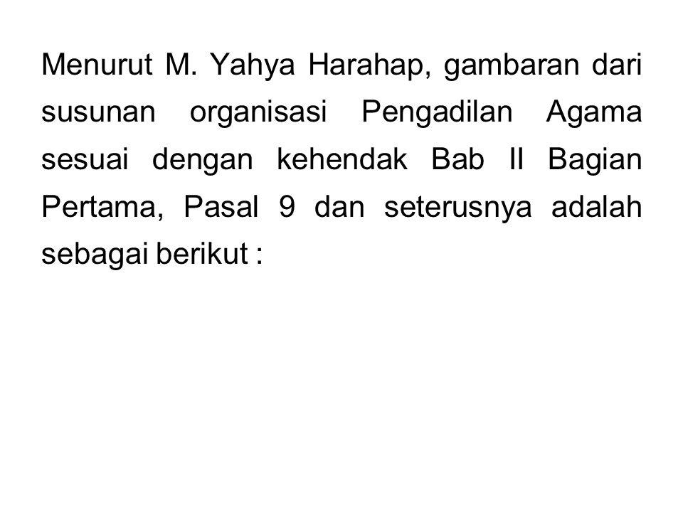 Menurut M. Yahya Harahap, gambaran dari susunan organisasi Pengadilan Agama sesuai dengan kehendak Bab II Bagian Pertama, Pasal 9 dan seterusnya adala