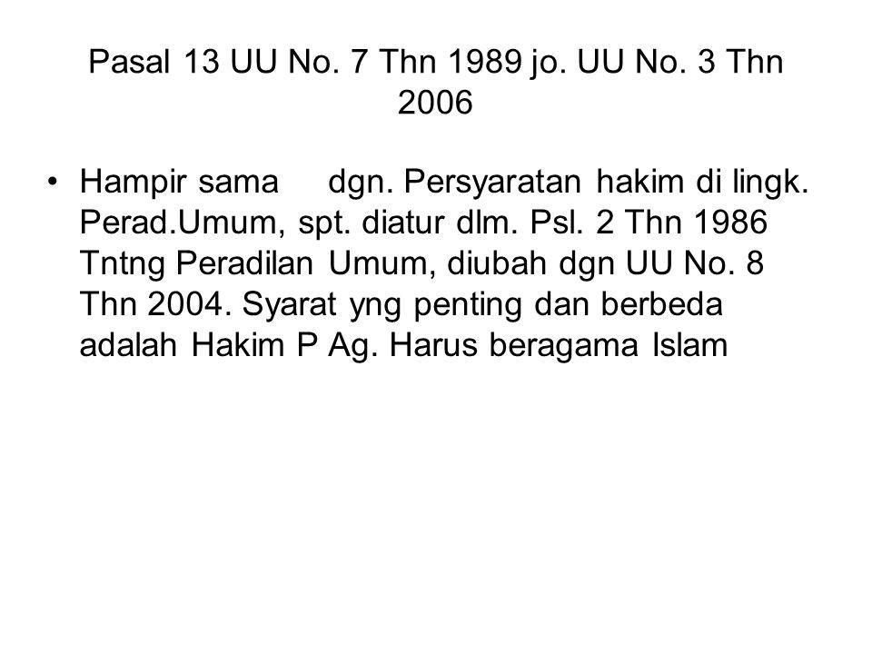 Pasal 13 UU No. 7 Thn 1989 jo. UU No. 3 Thn 2006 Hampir sama dgn. Persyaratan hakim di lingk. Perad.Umum, spt. diatur dlm. Psl. 2 Thn 1986 Tntng Perad