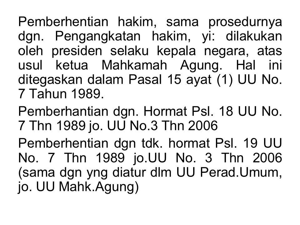 Pemberhentian hakim, sama prosedurnya dgn. Pengangkatan hakim, yi: dilakukan oleh presiden selaku kepala negara, atas usul ketua Mahkamah Agung. Hal i