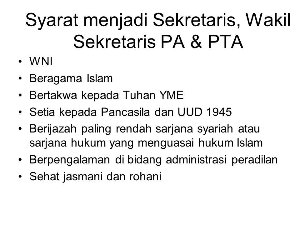 Syarat menjadi Sekretaris, Wakil Sekretaris PA & PTA WNI Beragama Islam Bertakwa kepada Tuhan YME Setia kepada Pancasila dan UUD 1945 Berijazah paling