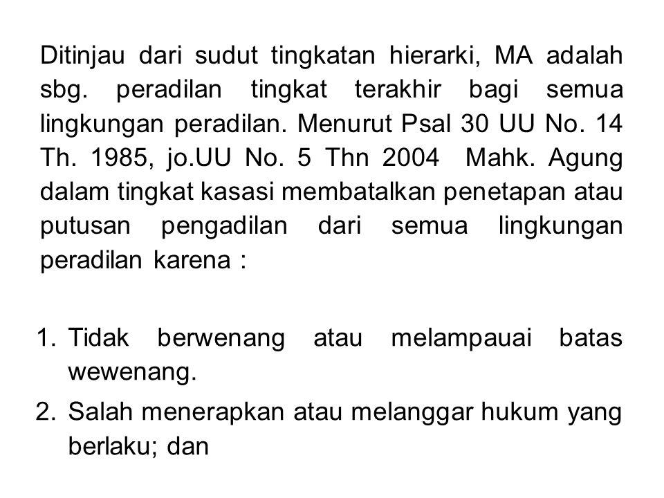 Ditinjau dari sudut tingkatan hierarki, MA adalah sbg. peradilan tingkat terakhir bagi semua lingkungan peradilan. Menurut Psal 30 UU No. 14 Th. 1985,