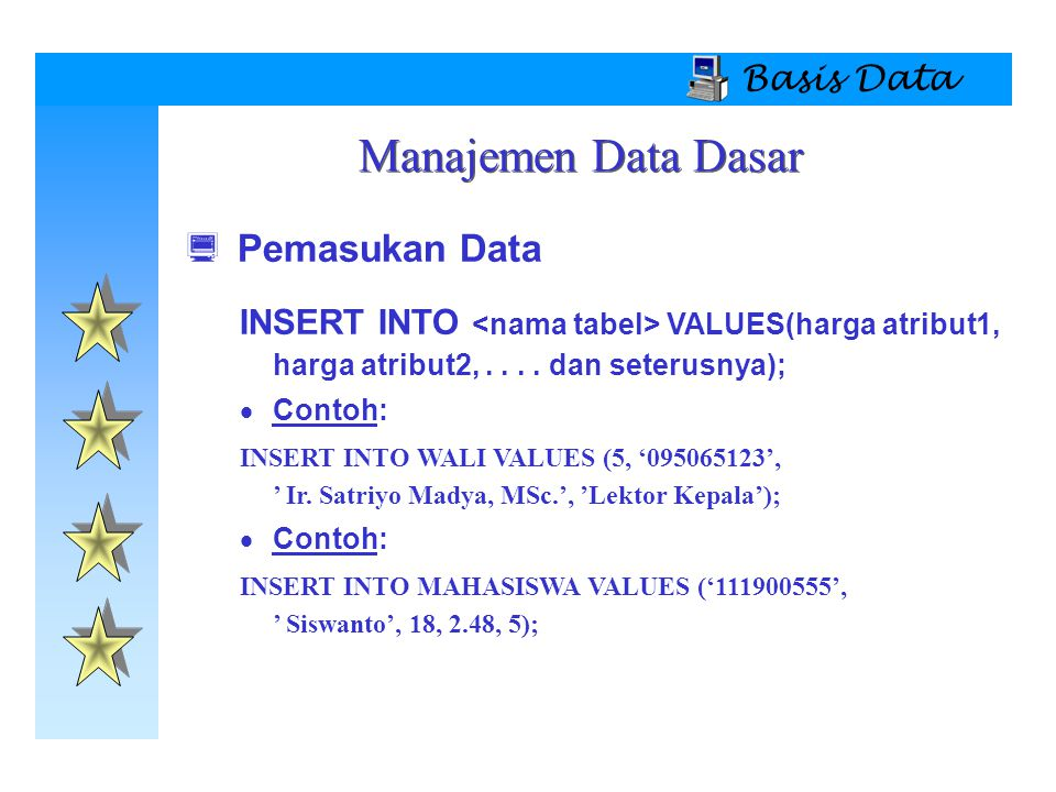 Basis Data  Pemasukan Data INSERT INTO VALUES(harga atribut1,  harga atribut2,....