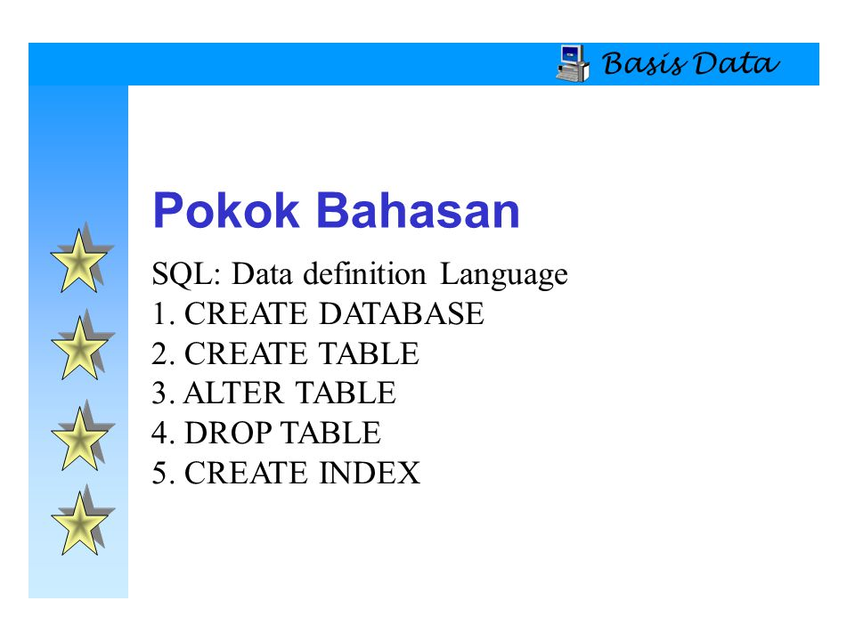 Basis Data SQL: Data definition Language 1.CREATE DATABASE 2.