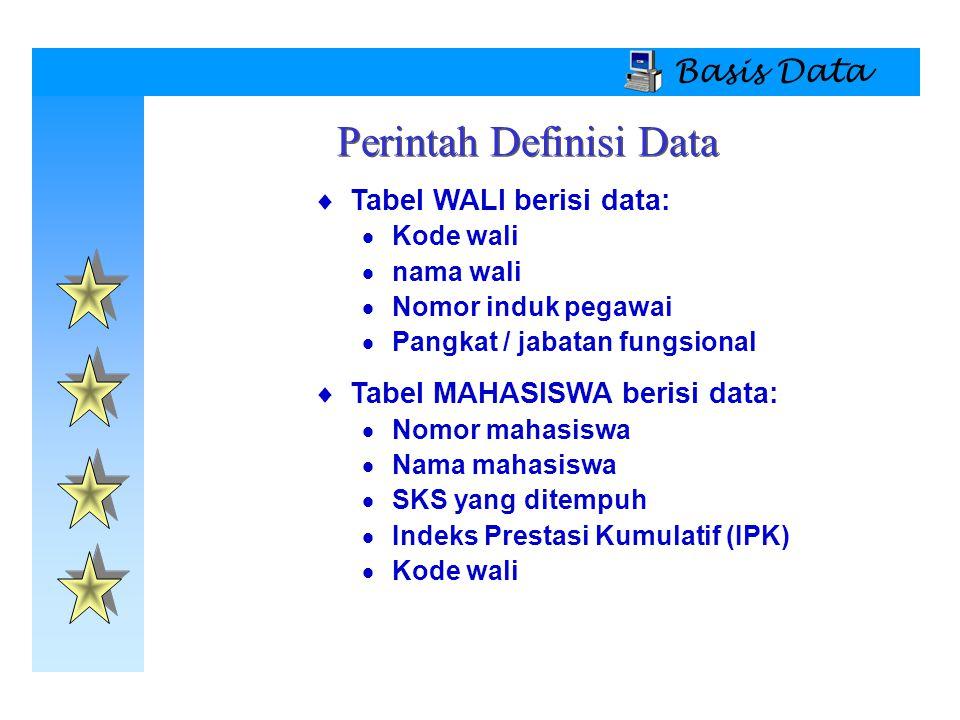 Basis Data  Tabel WALI berisi data:  Kode wali  nama wali  Nomor induk pegawai  Pangkat / jabatan fungsional  Tabel MAHASISWA berisi data:  Nom