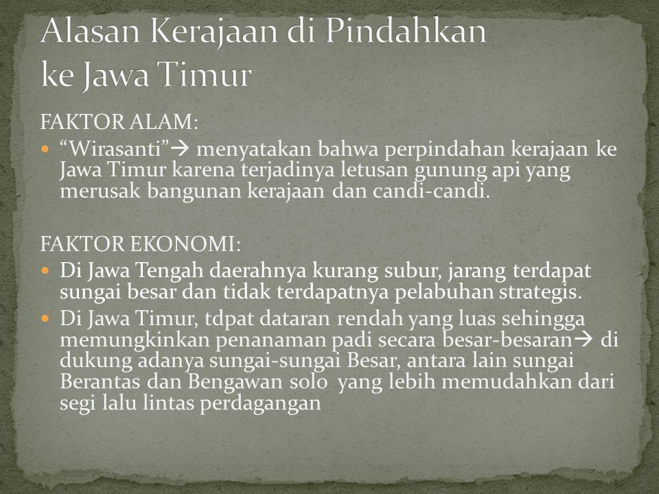 """FAKTOR ALAM: """"Wirasanti""""  menyatakan bahwa perpindahan kerajaan ke Jawa Timur karena terjadinya letusan gunung api yang merusak bangunan kerajaan dan"""