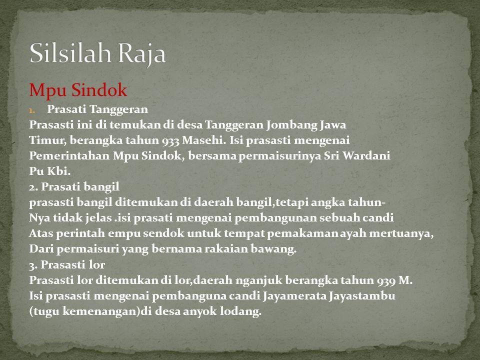 Mpu Sindok 1. Prasati Tanggeran Prasasti ini di temukan di desa Tanggeran Jombang Jawa Timur, berangka tahun 933 Masehi. Isi prasasti mengenai Pemerin