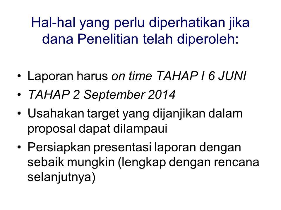 Hal-hal yang perlu diperhatikan jika dana Penelitian telah diperoleh: Laporan harus on time TAHAP I 6 JUNI TAHAP 2 September 2014 Usahakan target yang