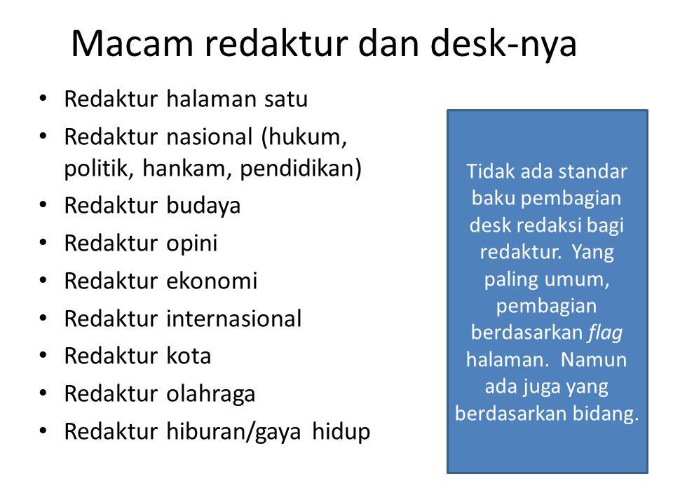 Macam redaktur dan desk-nya Redaktur halaman satu Redaktur nasional (hukum, politik, hankam, pendidikan) Redaktur budaya Redaktur opini Redaktur ekono