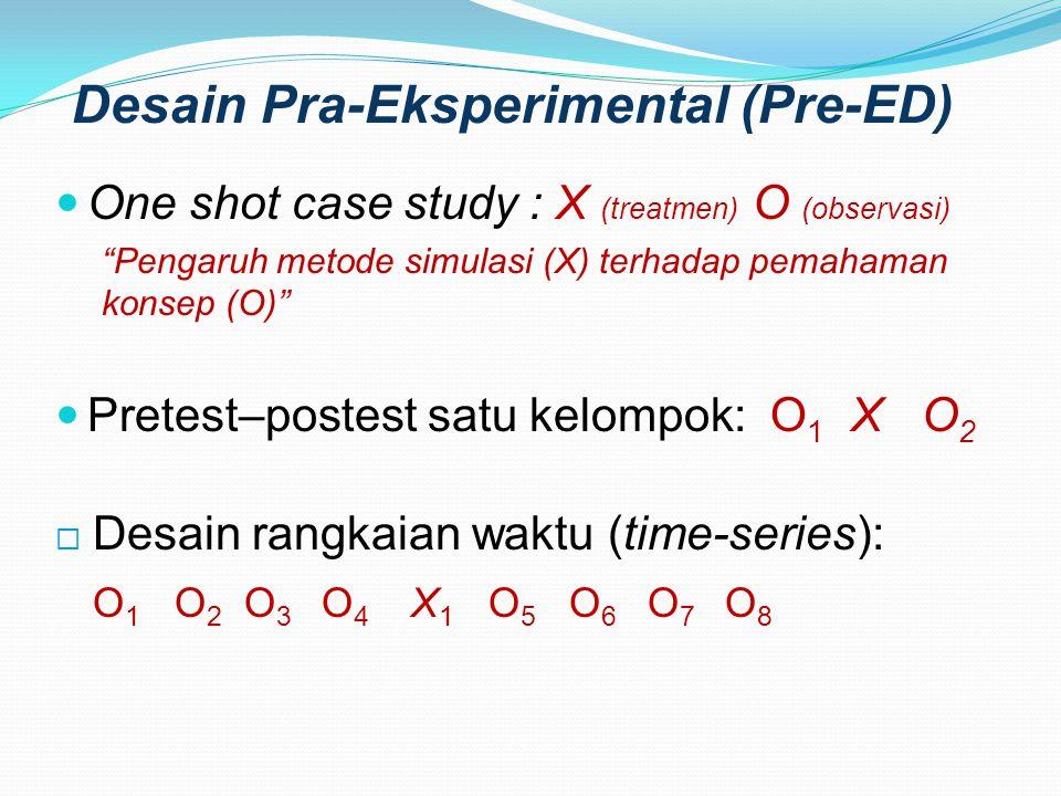 """Desain Pra-Eksperimental (Pre-ED) One shot case study : X (treatmen) O (observasi) """"Pengaruh metode simulasi (X) terhadap pemahaman konsep (O)"""" Pretes"""
