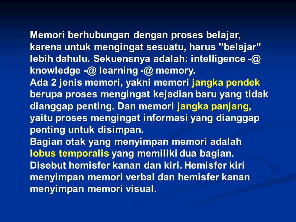 Memori berhubungan dengan proses belajar, karena untuk mengingat sesuatu, harus ''belajar'' lebih dahulu. Sekuensnya adalah: intelligence -@ knowledge