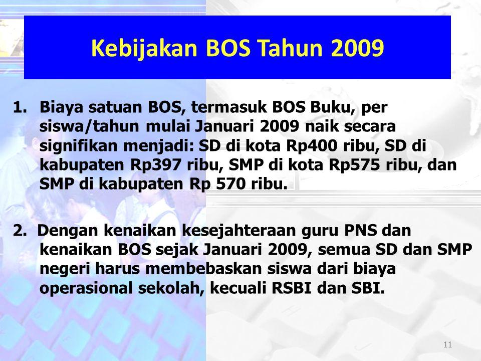 11 Kebijakan BOS Tahun 2009 1.Biaya satuan BOS, termasuk BOS Buku, per siswa/tahun mulai Januari 2009 naik secara signifikan menjadi: SD di kota Rp400