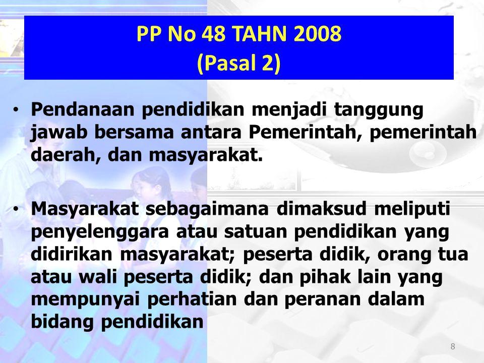 8 PP No 48 TAHN 2008 (Pasal 2) Pendanaan pendidikan menjadi tanggung jawab bersama antara Pemerintah, pemerintah daerah, dan masyarakat. Masyarakat se