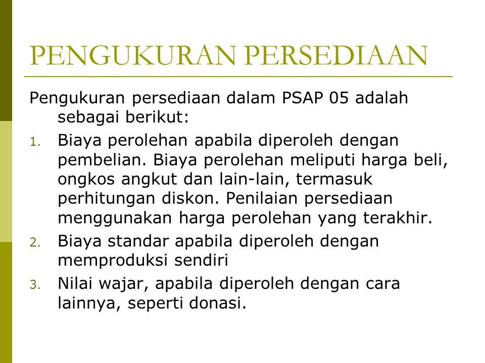 PENGUKURAN PERSEDIAAN Pengukuran persediaan dalam PSAP 05 adalah sebagai berikut: 1. Biaya perolehan apabila diperoleh dengan pembelian. Biaya peroleh