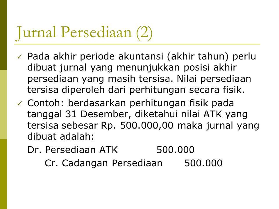 Jurnal Persediaan (2) Pada akhir periode akuntansi (akhir tahun) perlu dibuat jurnal yang menunjukkan posisi akhir persediaan yang masih tersisa. Nila