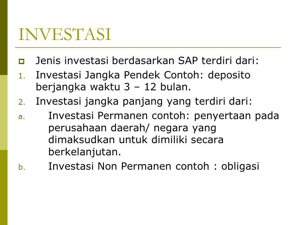 INVESTASI  Jenis investasi berdasarkan SAP terdiri dari: 1. Investasi Jangka Pendek Contoh: deposito berjangka waktu 3 – 12 bulan. 2. Investasi jangk
