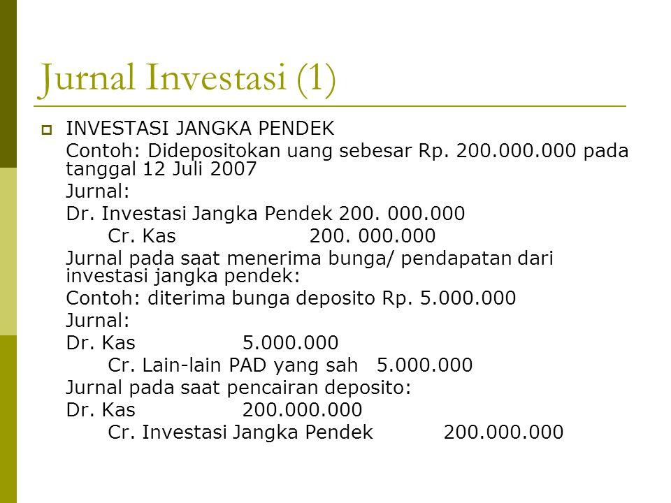 Jurnal Investasi (1)  INVESTASI JANGKA PENDEK Contoh: Didepositokan uang sebesar Rp. 200.000.000 pada tanggal 12 Juli 2007 Jurnal: Dr. Investasi Jang