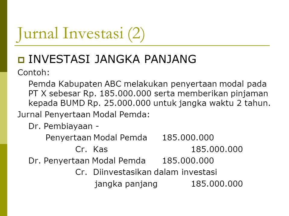 Jurnal Investasi (2)  INVESTASI JANGKA PANJANG Contoh: Pemda Kabupaten ABC melakukan penyertaan modal pada PT X sebesar Rp. 185.000.000 serta memberi