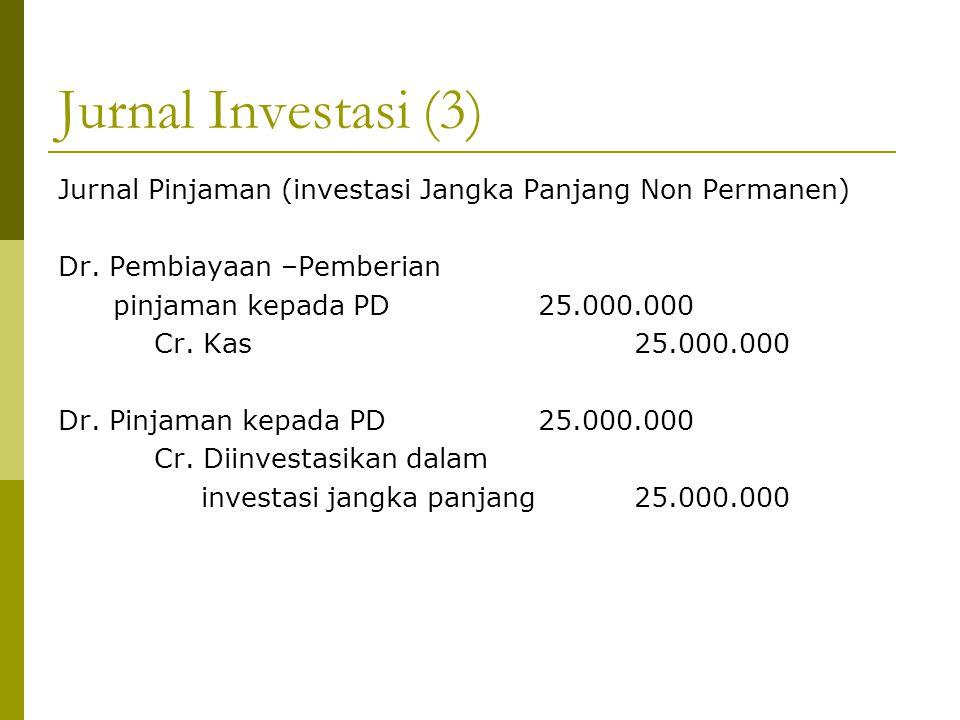 Jurnal Investasi (3) Jurnal Pinjaman (investasi Jangka Panjang Non Permanen) Dr. Pembiayaan –Pemberian pinjaman kepada PD25.000.000 Cr. Kas25.000.000