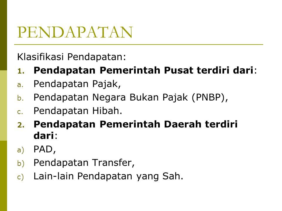 PENDAPATAN Klasifikasi Pendapatan: 1. Pendapatan Pemerintah Pusat terdiri dari: a. Pendapatan Pajak, b. Pendapatan Negara Bukan Pajak (PNBP), c. Penda