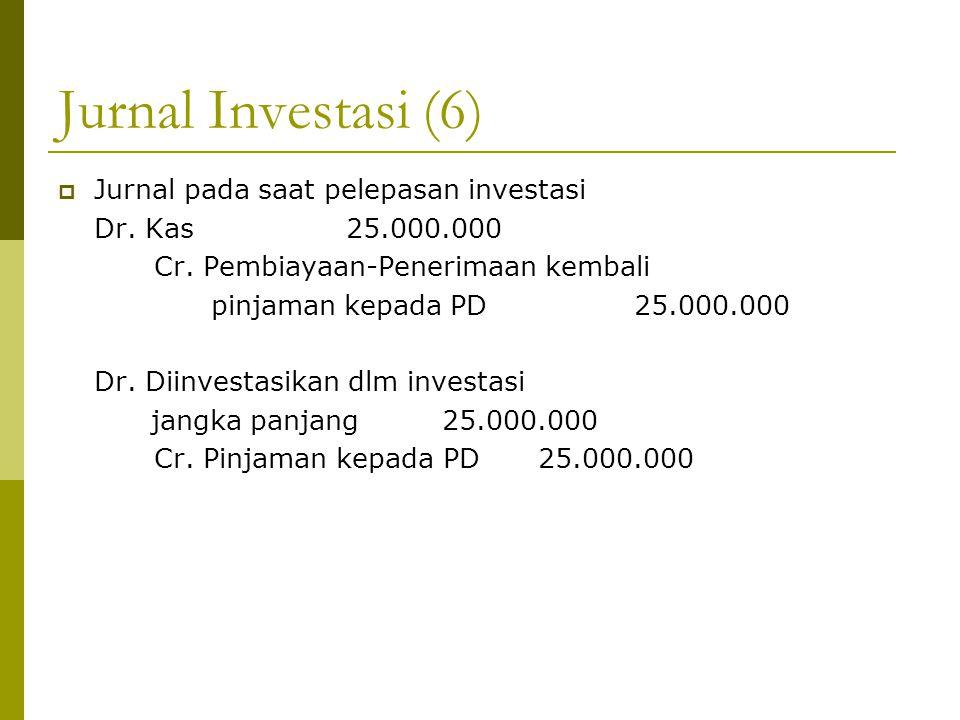 Jurnal Investasi (6)  Jurnal pada saat pelepasan investasi Dr. Kas25.000.000 Cr. Pembiayaan-Penerimaan kembali pinjaman kepada PD25.000.000 Dr. Diinv