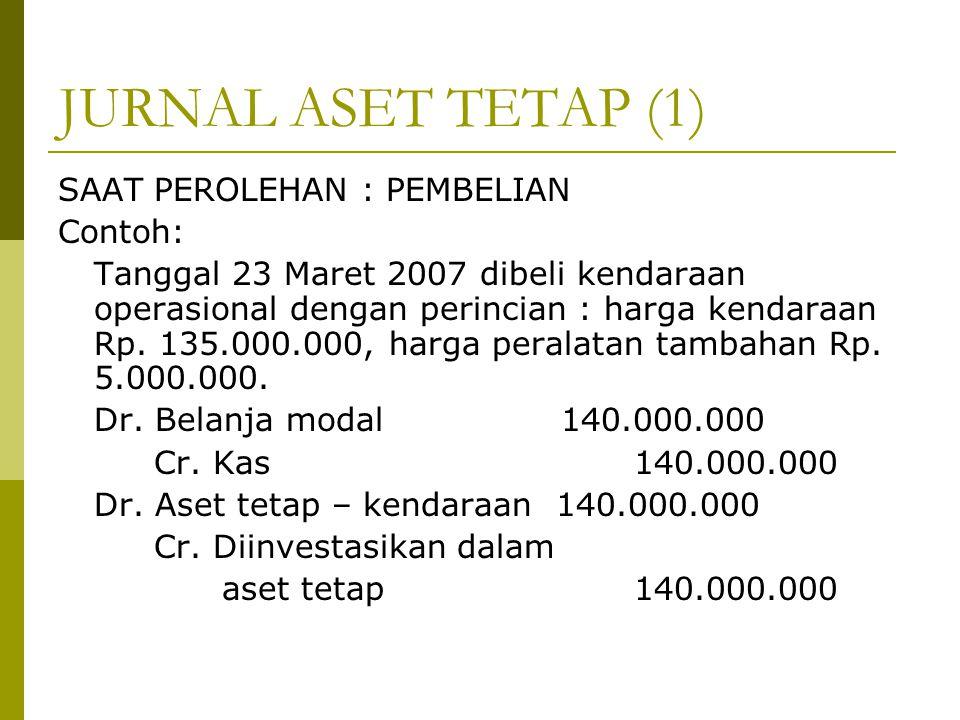 JURNAL ASET TETAP (1) SAAT PEROLEHAN : PEMBELIAN Contoh: Tanggal 23 Maret 2007 dibeli kendaraan operasional dengan perincian : harga kendaraan Rp. 135