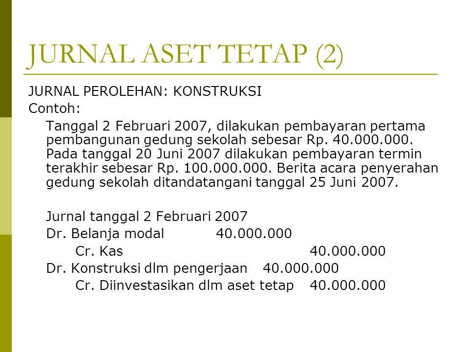 JURNAL ASET TETAP (2) JURNAL PEROLEHAN: KONSTRUKSI Contoh: Tanggal 2 Februari 2007, dilakukan pembayaran pertama pembangunan gedung sekolah sebesar Rp