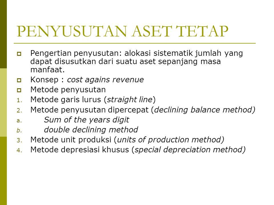 PENYUSUTAN ASET TETAP  Pengertian penyusutan: alokasi sistematik jumlah yang dapat disusutkan dari suatu aset sepanjang masa manfaat.  Konsep : cost