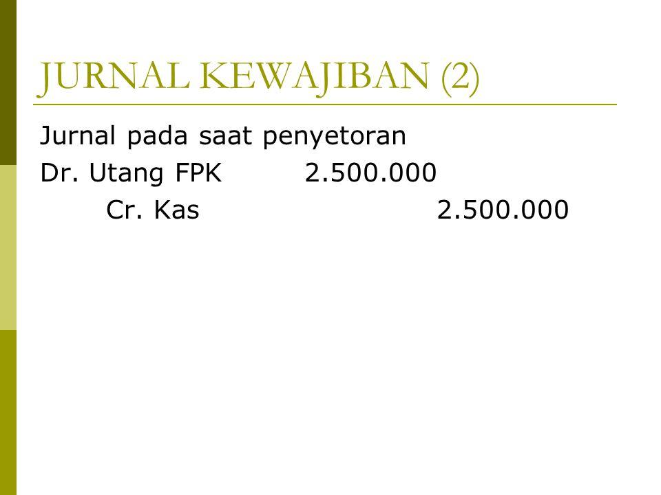 JURNAL KEWAJIBAN (2) Jurnal pada saat penyetoran Dr. Utang FPK2.500.000 Cr. Kas2.500.000