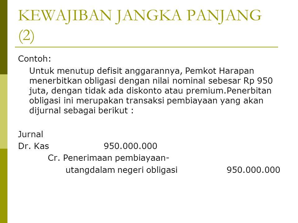KEWAJIBAN JANGKA PANJANG (2) Contoh: Untuk menutup defisit anggarannya, Pemkot Harapan menerbitkan obligasi dengan nilai nominal sebesar Rp 950 juta,