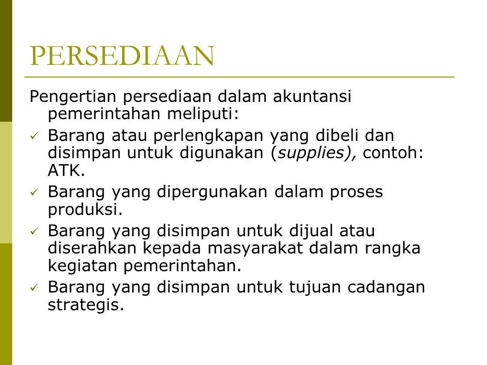 PENGUKURAN PERSEDIAAN Pengukuran persediaan dalam PSAP 05 adalah sebagai berikut: 1.
