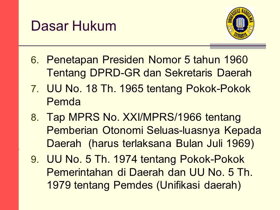 Dasar Hukum 6. Penetapan Presiden Nomor 5 tahun 1960 Tentang DPRD-GR dan Sekretaris Daerah 7.