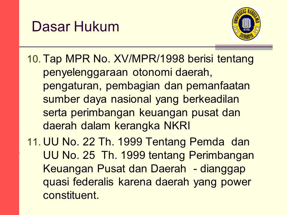 Dasar Hukum 10. Tap MPR No.