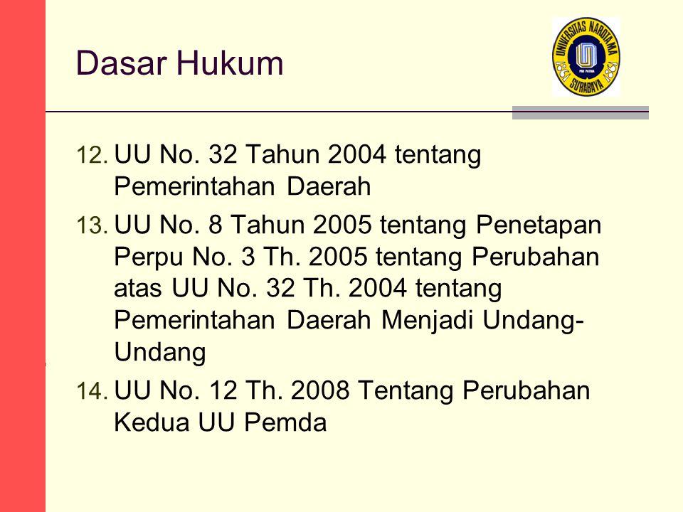 Dasar Hukum 12. UU No. 32 Tahun 2004 tentang Pemerintahan Daerah 13.