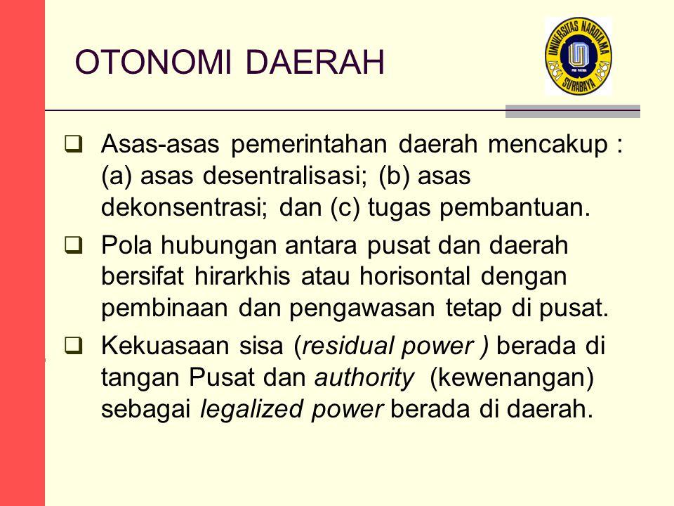 OTONOMI DAERAH  Asas-asas pemerintahan daerah mencakup : (a) asas desentralisasi; (b) asas dekonsentrasi; dan (c) tugas pembantuan.