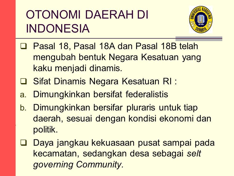 OTONOMI DAERAH DI INDONESIA  Pasal 18, Pasal 18A dan Pasal 18B telah mengubah bentuk Negara Kesatuan yang kaku menjadi dinamis.