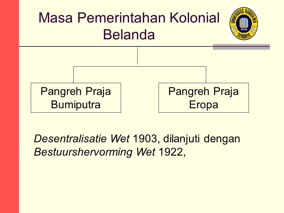 Masa Pemerintahan Kolonial Belanda Pangreh Praja Bumiputra Pangreh Praja Eropa Desentralisatie Wet 1903, dilanjuti dengan Bestuurshervorming Wet 1922,