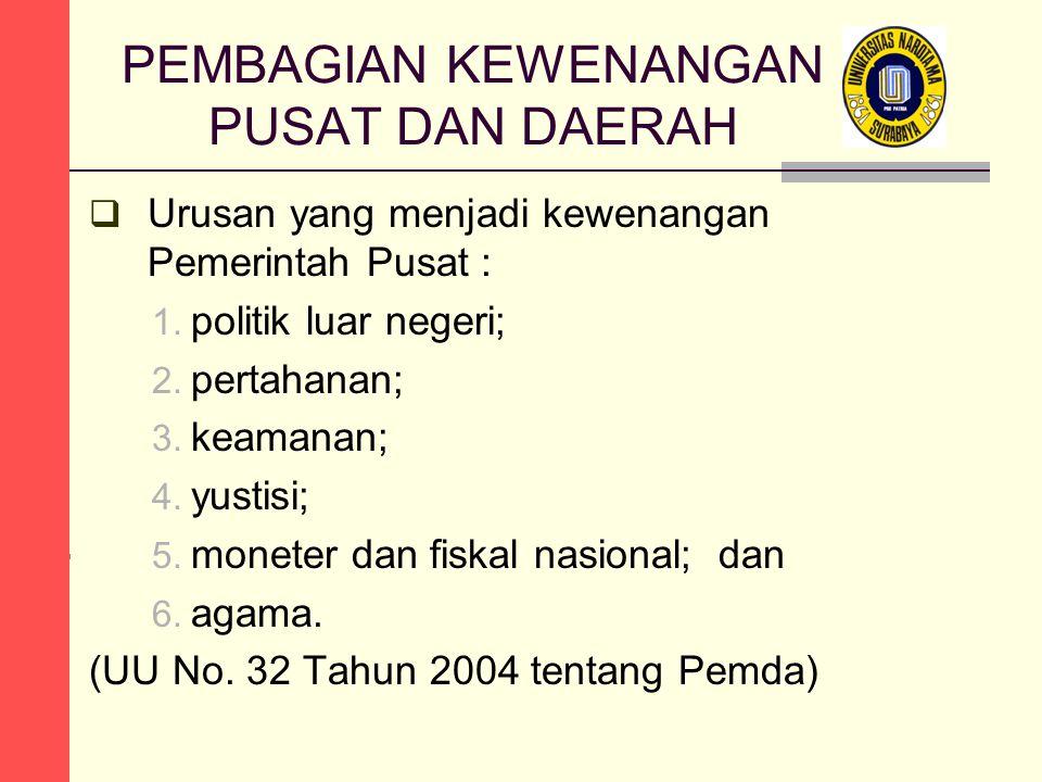 PEMBAGIAN KEWENANGAN PUSAT DAN DAERAH  Urusan yang menjadi kewenangan Pemerintah Pusat : 1.