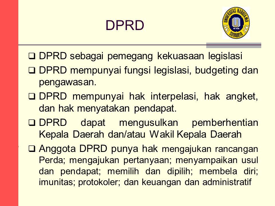 DPRD  DPRD sebagai pemegang kekuasaan legislasi  DPRD mempunyai fungsi legislasi, budgeting dan pengawasan.