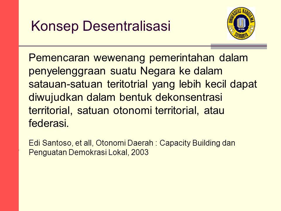 Konsep Desentralisasi Pemencaran wewenang pemerintahan dalam penyelenggraan suatu Negara ke dalam satauan-satuan teritotrial yang lebih kecil dapat diwujudkan dalam bentuk dekonsentrasi territorial, satuan otonomi territorial, atau federasi.