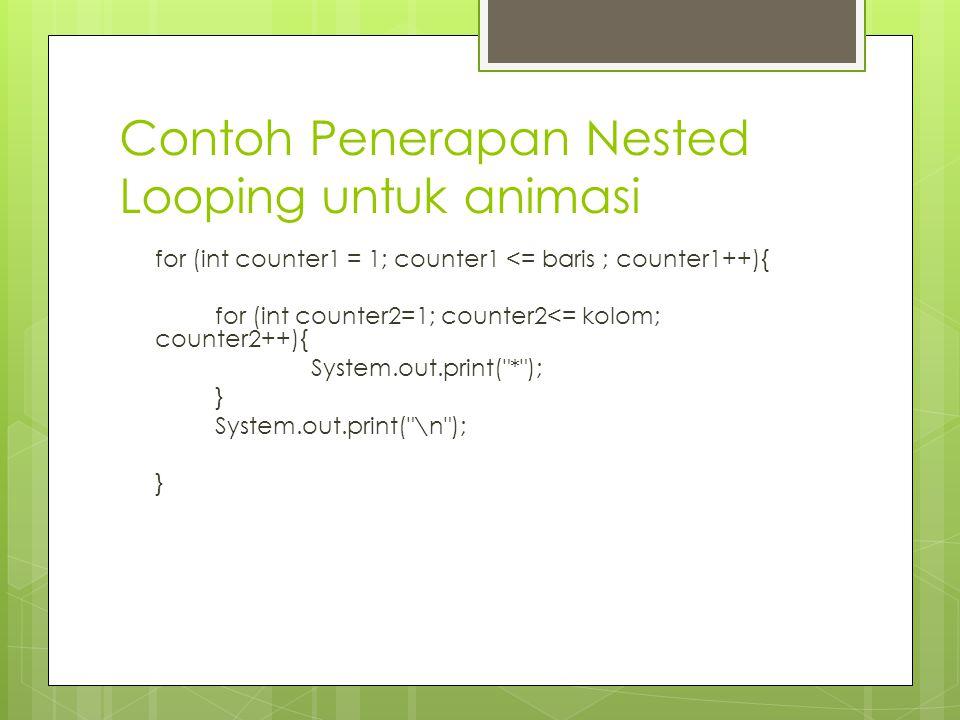 Contoh Penerapan Nested Looping untuk animasi for (int counter1 = 1; counter1 <= baris ; counter1++){ for (int counter2=1; counter2<= kolom; counter2++){ System.out.print( * ); } System.out.print( \n ); }