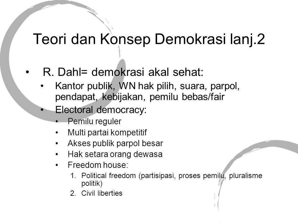 Teori dan Konsep Demokrasi lanj.3 Demokrasi tingkat ketebalan : Thin: 1.Voting 2.Pemilu bebas & adil Thick: 1.Konvensi 2.Perangkat praktek 3.Prinsip: HAM Hukum Pluralisme 4.
