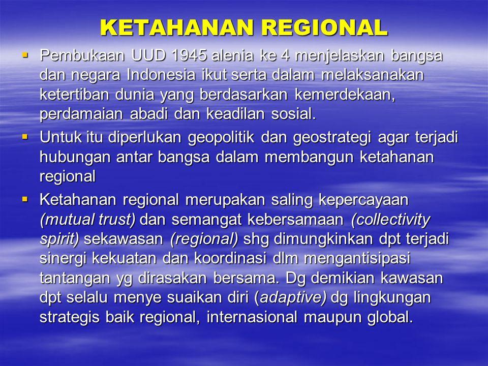 KETAHANAN REGIONAL  Pembukaan UUD 1945 alenia ke 4 menjelaskan bangsa dan negara Indonesia ikut serta dalam melaksanakan ketertiban dunia yang berdasarkan kemerdekaan, perdamaian abadi dan keadilan sosial.