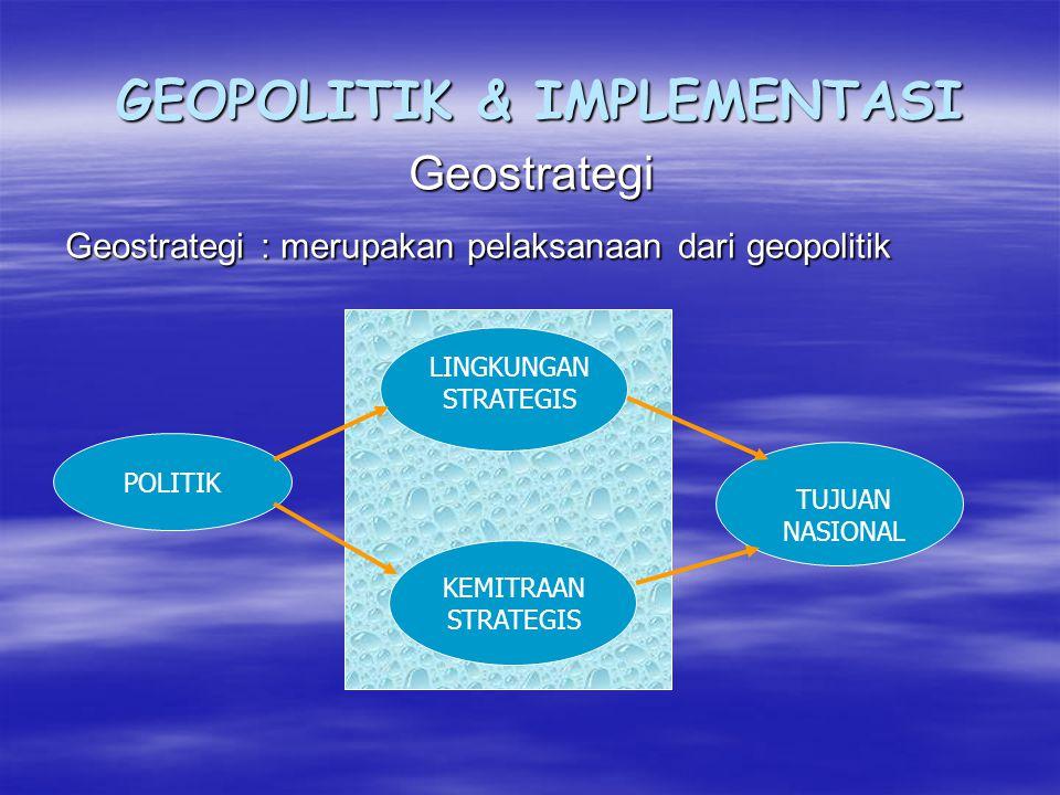 GEOPOLITIK & IMPLEMENTASI Geostrategi Geostrategi : merupakan pelaksanaan dari geopolitik POLITIK TUJUAN NASIONAL LINGKUNGAN STRATEGIS KEMITRAAN STRATEGIS