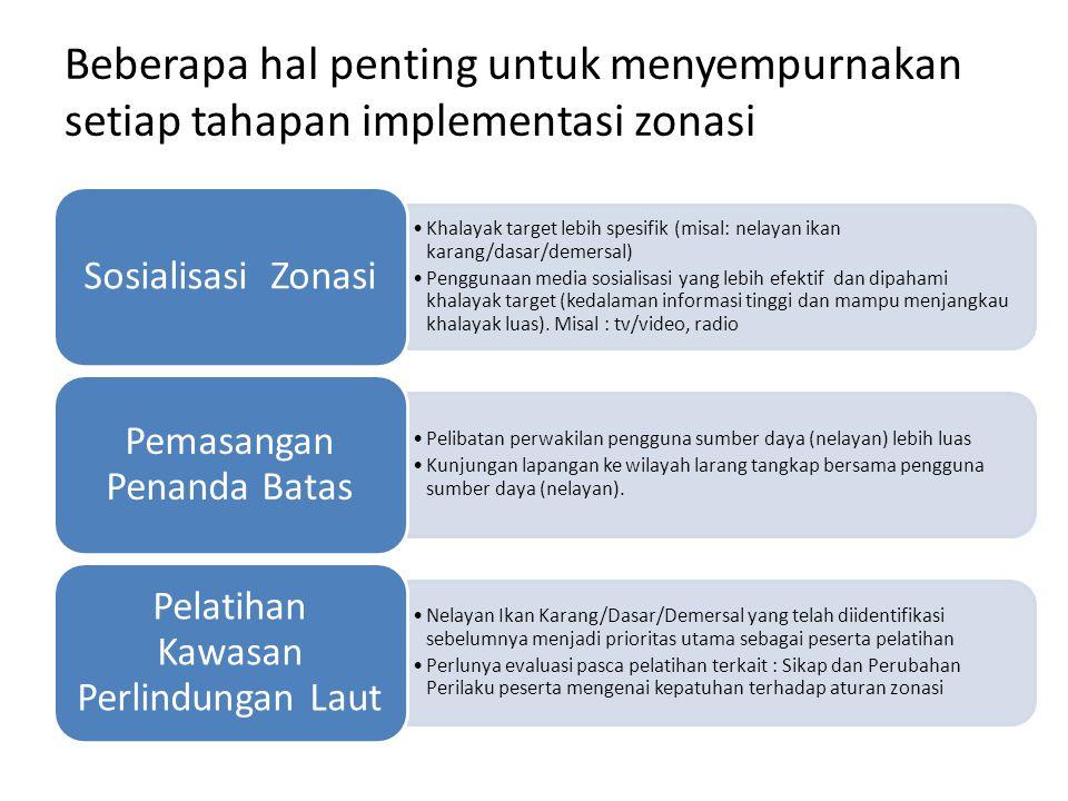 Beberapa hal penting untuk menyempurnakan setiap tahapan implementasi zonasi Khalayak target lebih spesifik (misal: nelayan ikan karang/dasar/demersal) Penggunaan media sosialisasi yang lebih efektif dan dipahami khalayak target (kedalaman informasi tinggi dan mampu menjangkau khalayak luas).