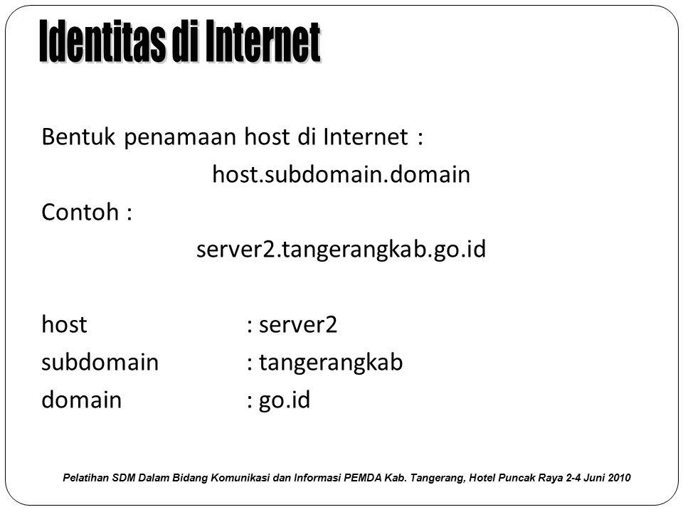 Bentuk penamaan host di Internet : host.subdomain.domain Contoh : server2.tangerangkab.go.id host : server2 subdomain : tangerangkab domain : go.id Pe