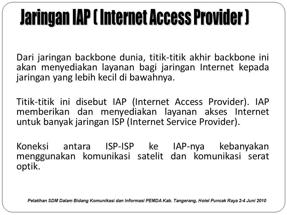 Dari jaringan backbone dunia, titik-titik akhir backbone ini akan menyediakan layanan bagi jaringan Internet kepada jaringan yang lebih kecil di bawah