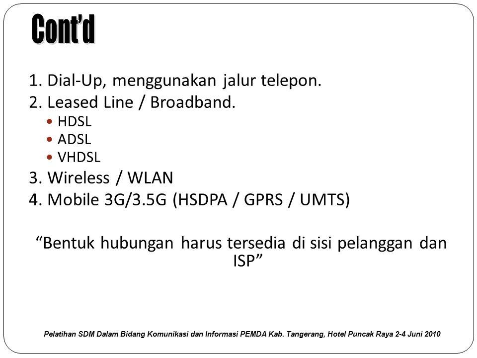"1. Dial‐Up, menggunakan jalur telepon. 2. Leased Line / Broadband. HDSL ADSL VHDSL 3. Wireless / WLAN 4. Mobile 3G/3.5G (HSDPA / GPRS / UMTS) ""Bentuk"